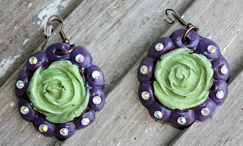 Aquilla Rose in Lime and Purple Dangle Earrings