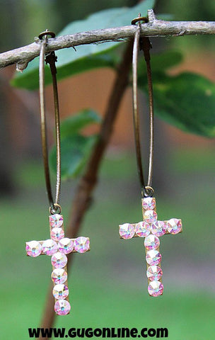 Pink Panache AB Crystal Cross Earrings on Large Hoop