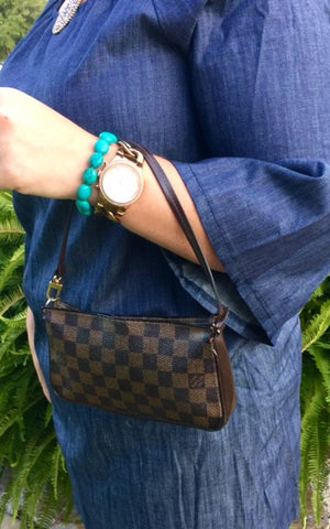 Authentic Used Louis Vuitton Pochette Arm Bag in Damier Ebene