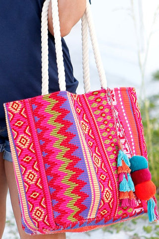 The Multi-Colored Aztec Bora Bora Tote Bag with Rope Handle
