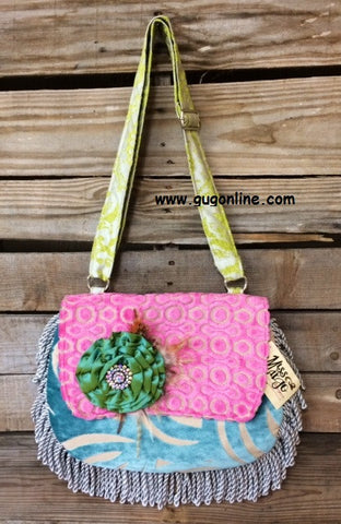 Flap Front Cross Body Bag with Fancy Green Flower