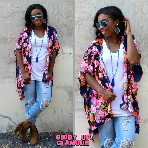 At Your Best Neon Floral Kimono