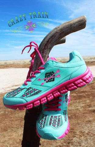 Follow Your Arrow Mint and Pink Aztec Athletic Shoes