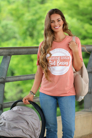 Raising Little Girl Bosses Short Sleeve Tee Shirt in Dusty Coral
