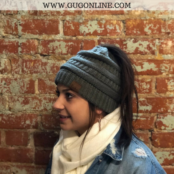 Ponytail CC Beanie in Grey – Giddy Up Glamour Boutique 32a7ef11e6d2