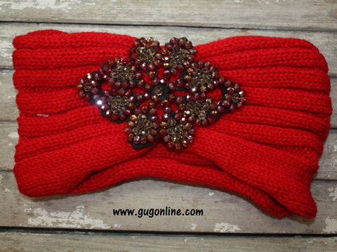 Crystallized Knitted Headwrap in Red