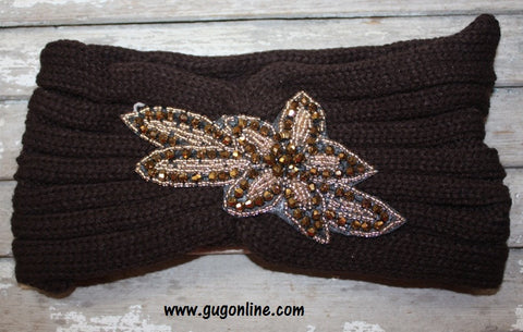 Crystallized Knitted Headwrap in Brown