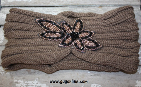 Crystallized Knitted Headwrap in Mocha