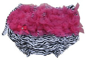 Adorable Zebra Baby Bloomers with Hot Pink Ruffle
