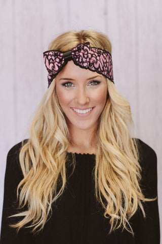 Hippie Chic Pink and Black Lace Headband with Bow