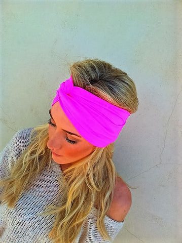 Hippie Chic Neon Fluorescent Pink Stretch Headband