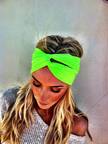 Hippie Chic Neon Fluorescent Green Stretch Headband