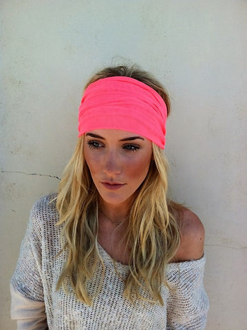 Hippie Chic Neon Orange Mesh Wide Headband