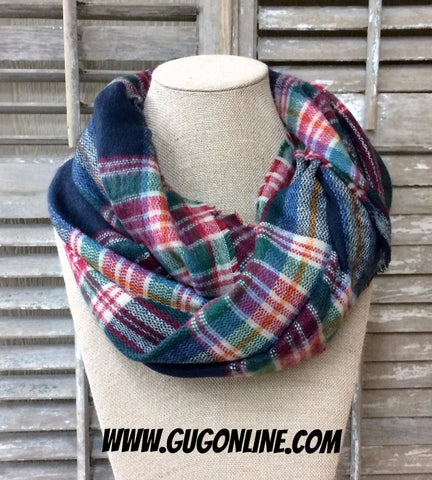 Navy, Green and Red Plaid Infinity Scarf