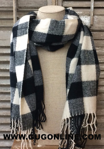 Black and Ivory Plaid Scarf