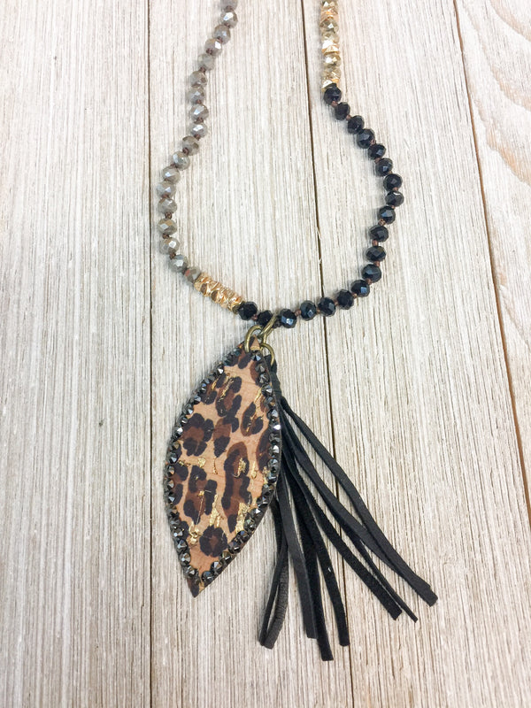 SECONDS | Pink Panache Long Black Mix Tassel Necklace with Leopard Navette and Black Crystals