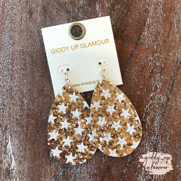 Glitter Star Teardrop Earrings in Rose Gold