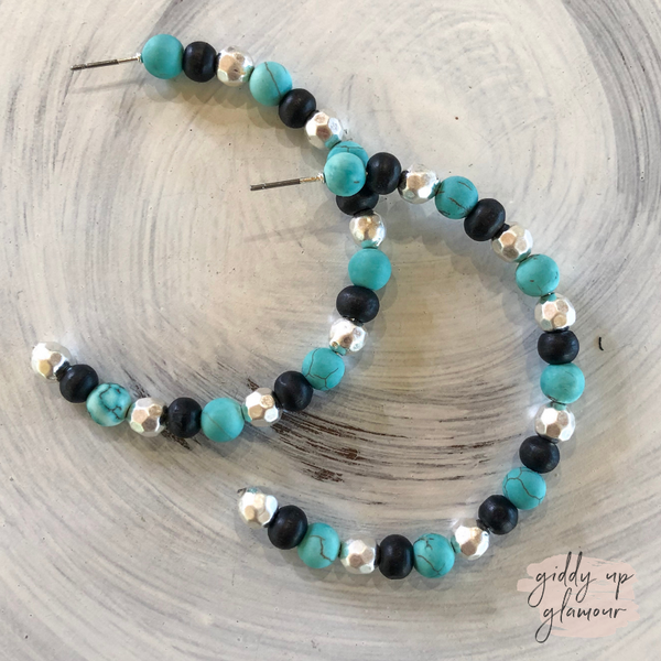 Large Beaded Hoop Earrings in Silver, Turquoise, and Black