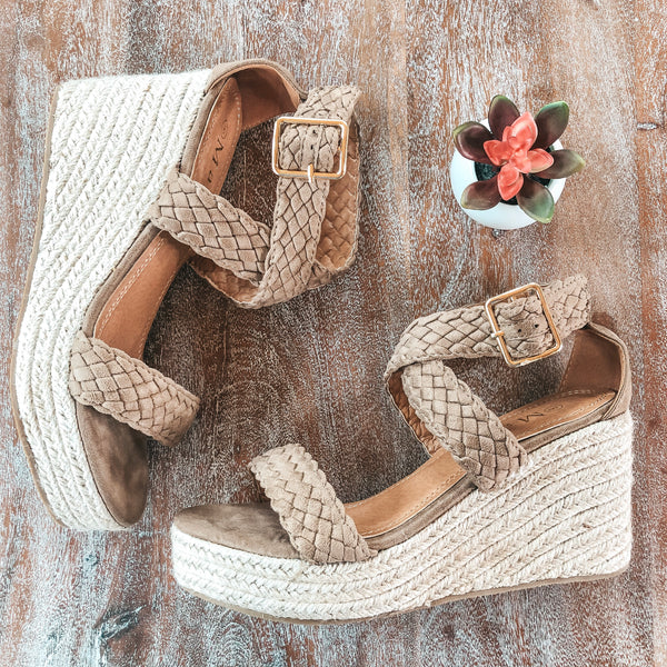 Casual Crush Braided Espadrille Wedges in Taupe