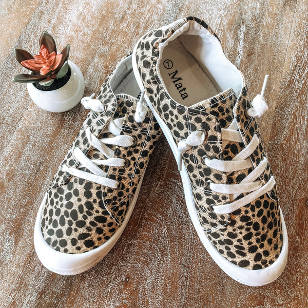 Damaged | Summer Laced Slip On Sneakers in Cheetah | Size 7