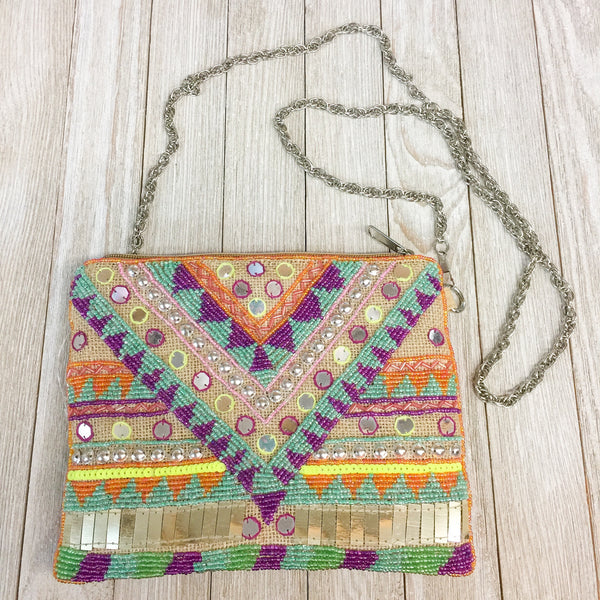DAMAGED | The Bailey Clutch - Fully Beaded Aztec Bag