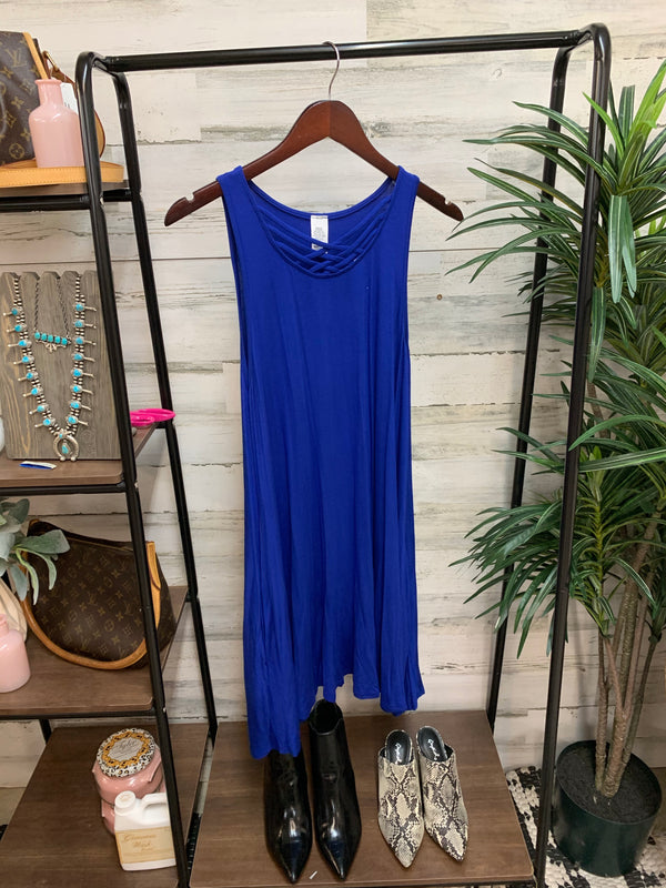 Royal Blue Swing Dress with Criss Cross Neckline