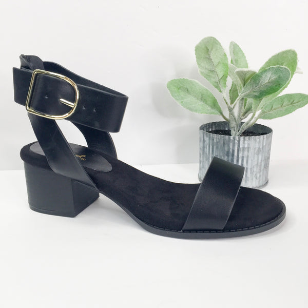 Take Your Step Ankle Strap Heeled Sandals in Black