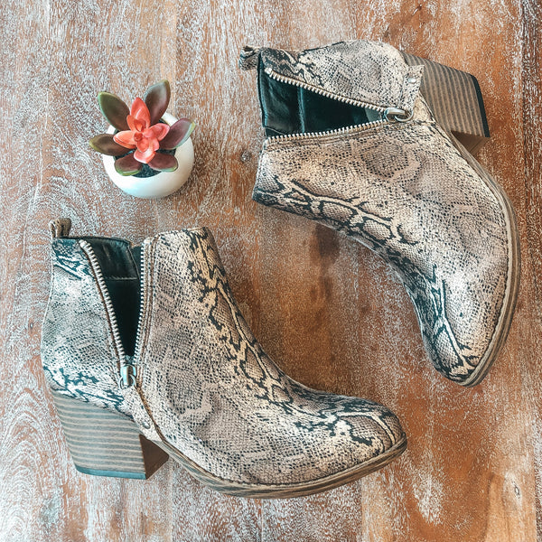 SIZE 10 AND 11 Corky's | Tombstone Heeled Zipper Booties in Brown Snake