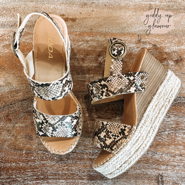 Simply Chic Two Strap Espadrille Sandal Wedges in Tan Snake