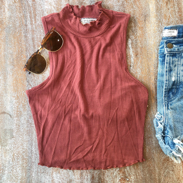 A Good Time Ribbed High Neck Crop Top in Rust