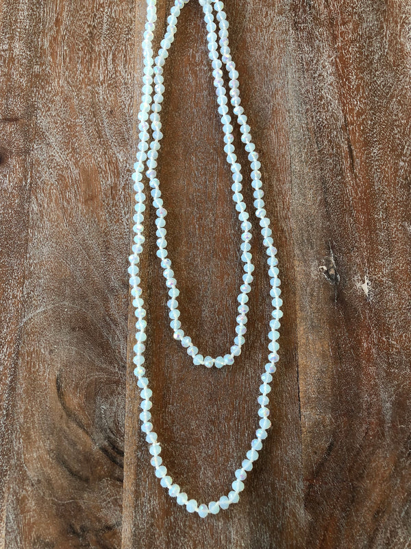 60 Inch Long Layering 8mm Crystal Strand Necklace in White AB