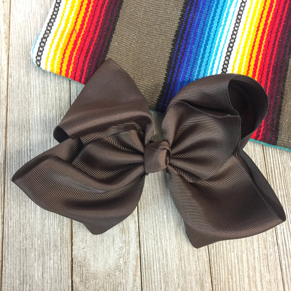 Solid Color Hair Bow in Chocolate Brown