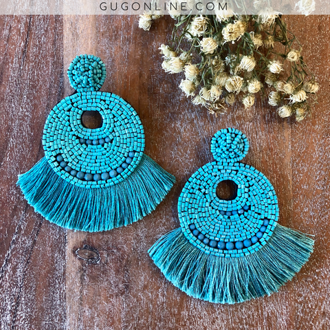 Beaded Statement Earrings with Fringe Trim in Turquoise