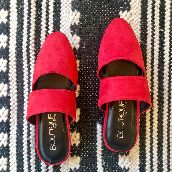Modeled Shoes |  Corky's | Make the Scene Slide On Mules in Red - Size 7