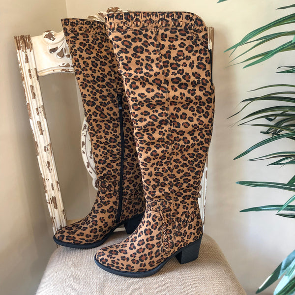 Corky's | Ladder Heeled Knee Boots in Leopard