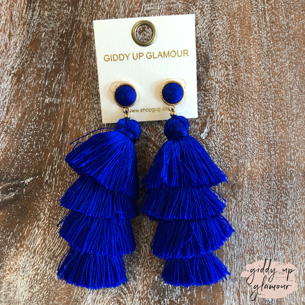 Layered Tassel Earrings with Threaded Stud in Royal Blue