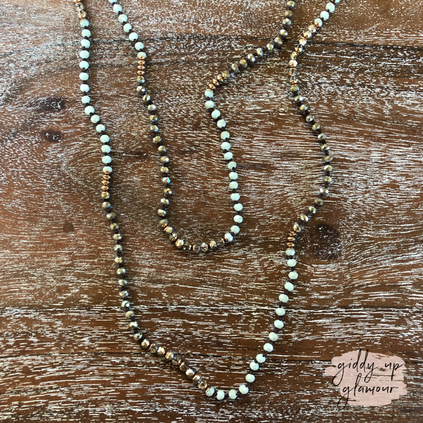 Long Crystal Beaded Necklace in Mint
