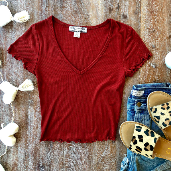 Happy Me Ribbed V Neck Crop Top in Rust