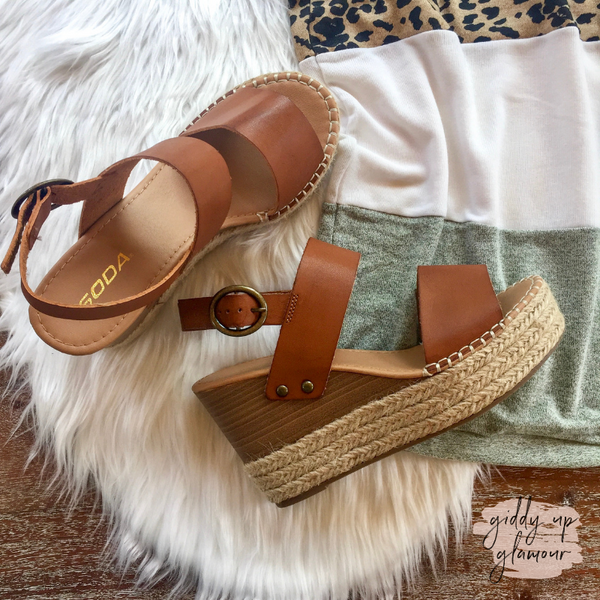 Simply Chic Two Strap Espadrille Sandal Wedges in Tan