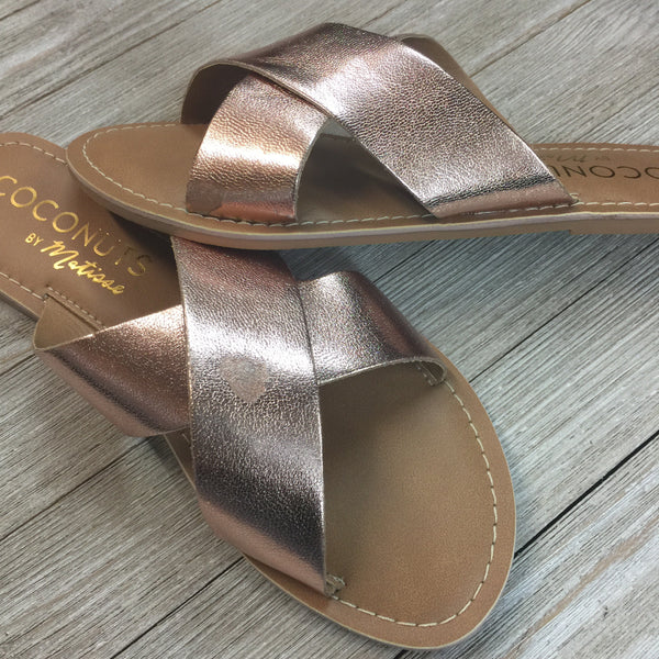 Damaged | Pebble Cross Straps Slide On Sandals in Rose Gold | Size 6 and 7