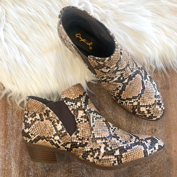Salena Snakeskin Booties in Brown