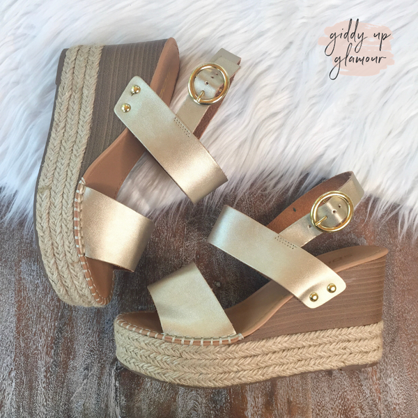 Size 5.5 | Simply Chic Two Strap Espadrille Sandal Wedges in Gold