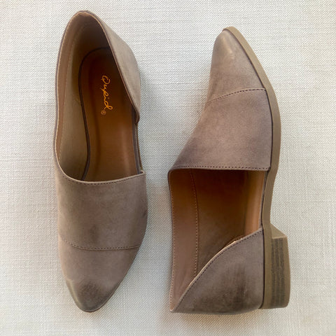 Side Slit Flat Booties in Taupe