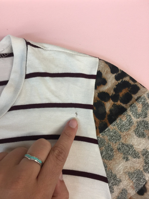SECONDS | X-LARGE Whenever You Call Stripe Long Sleeve Top with Leopard Print Pocket & Sleeves in Maroon