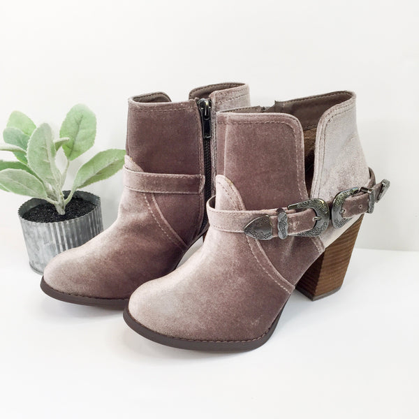 Jibu Velvet Buckle Booties in Silver Grey - sizes 6, 6.5, 7.5, 8, 9, and 10 left in this HOT NEW MARKDOWN!
