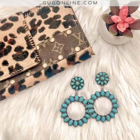 Flower and Circle Turquoise Earrings
