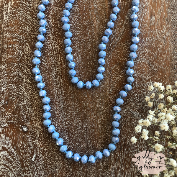 60 Inch Long Layering 8mm Crystal Strand Necklace in Cornflower Blue