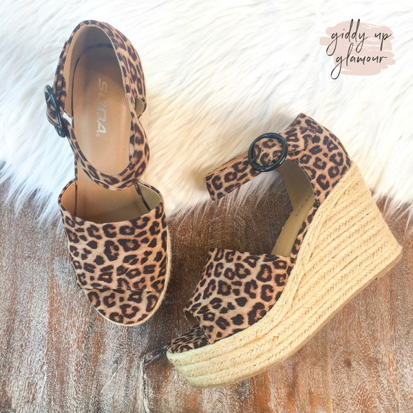 Meet Me Here Espadrille Sandal Wedges in Leopard