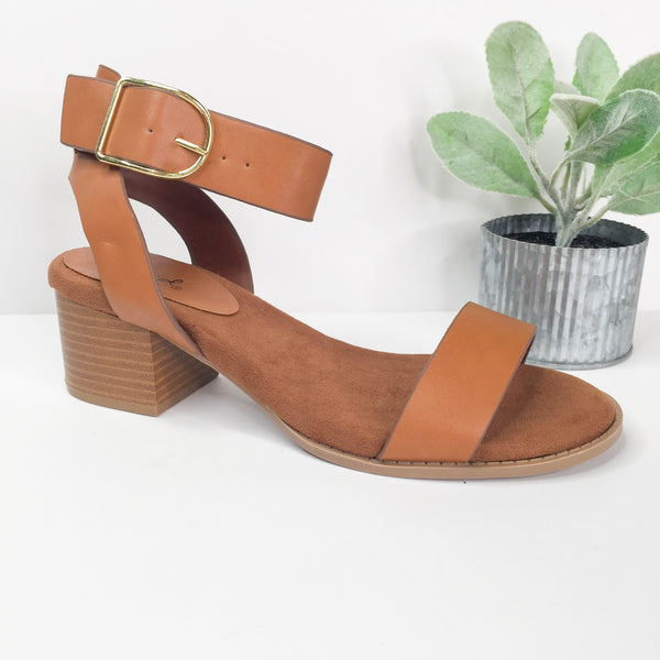Take Your Step Ankle Strap Heeled Sandals in Cognac