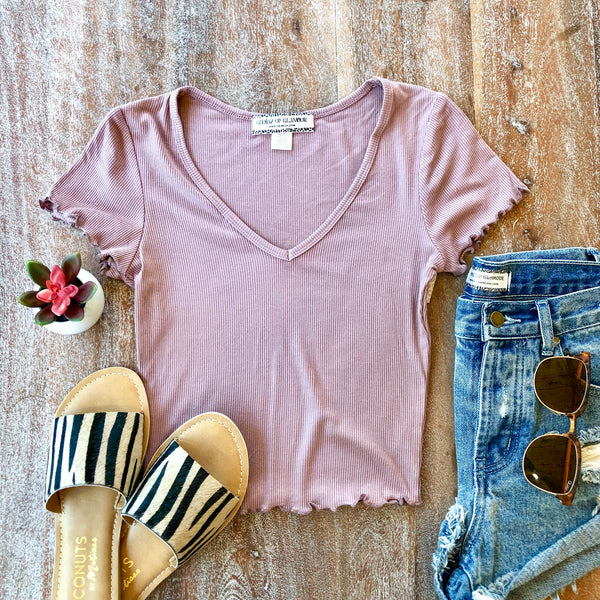 Happy Me Ribbed V Neck Crop Top in Muave